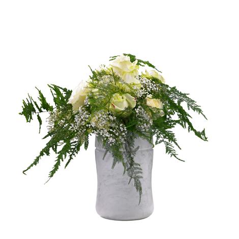 Articles funéraires Fleurs : Décoration blanche pour urne  E ...