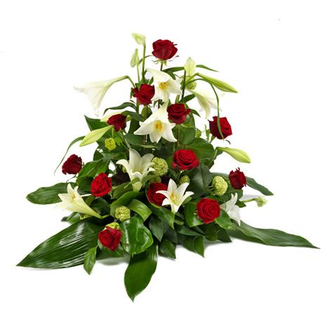 composition florale artificielle pour deuil
