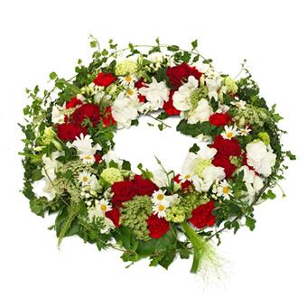 articles fun raires fleurs couronne rouge et blanche e. Black Bedroom Furniture Sets. Home Design Ideas